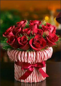 Super Easy DIY Christmas Decor Ideas - Candy Cane Roses - Click Pic for 25 Christmas Craft Ideas