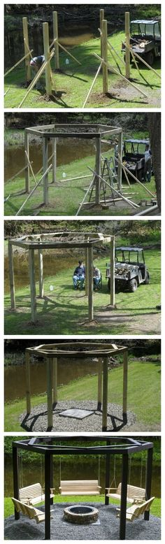 DIY backyard swing circle @ MyHomeLookBookMyHomeLookBook  An Adult that seventies show circle!  Could customize to coordinate with the custom fire-pit rings I torch cut.