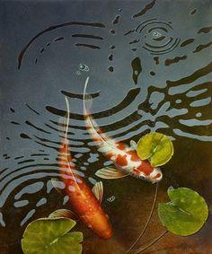 (Canada) Colors of koi fish by Terry Gilecki ). acrylic on canvas. Koi Fish Pond, Fish Ponds, Tattoo Pez, Koi Kunst, Cosplay Steampunk, Koi Painting, Fish Artwork, Koi Art, Japanese Koi