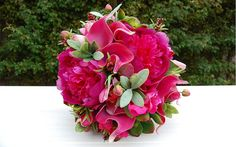 Silk Wedding Bouquet shades of Magenta and by bloomroomdesigns, $220.00