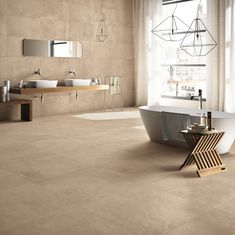 View our Industry Sand porcelain tiles, ideal for both walls and floors. Request a free sample of porcelain tiles from Mandarin Stone today. Beige Tile Bathroom, White Marble Bathrooms, Stone Bathroom, Bathroom Colors, Bathroom Trends, Bathroom Interior, Pastel Design, Mandarin Stone, Modern Sink