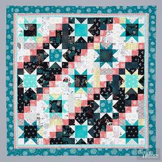 An unusual color palette lets you play with contrast when piecing scrappy-looking stars in two colorways./