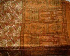 Impressive Vintage Floral 100% Pure Real Silk Fabric Sari Saree Flowers Blue