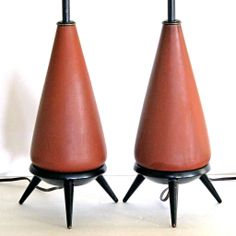 Mid Century Modern Lamp Pair Studio Pottery Ebonized Wood Tripod Leg Table Lamps from McModern Goddess at RubyLane.com