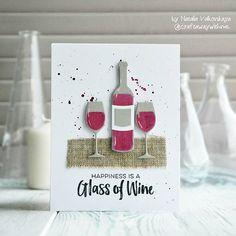 "card wine drink wine bottle glass glasses MFT Wine service Die-namics MFT Uncorked Die-namics #mftstamps - Natasha Valkovskaya on Instagram: ""Happy Friday! #mftstamps #открыткавподарок"