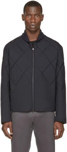 3.1 Phillip Lim Navy Quilted Bomber Jacket