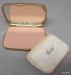 Revlon Ladies Pressed Powder Compact Honeycomb 1980s Gold Tone Vanity Case Puff