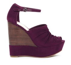 Purple Peep Toe Wedge.