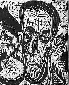 Ernst Ludwig Kirchner, woodcut, portrait of henry van de veldes, 1917