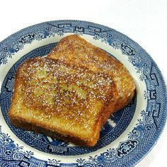 Our Sunday Morning French Toast; this is an originial Cook's Illustrated recipe.  It is basic and delicious.  Different because it has flour in the egg dip.  Steve loves it.  I always serve the powdered sugar in my sweet vintage sugar shaker.