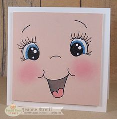 Oh Baby Card - Stamp image onto Peach Smooth with black ink. Use acrylic paint to paint the whites of the eyes. Color mouth and eyes with markers. Add cheek color with chalk. Attach pink panel to Brilliant White Smooth card back. Baby Cards, Kids Cards, Cheap Christmas Crafts, Peachy Keen Stamps, Fun Crafts, Paper Crafts, Face Template, Drawing Heads, Clay Flower Pots