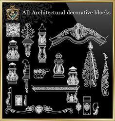 All Architectural decorative blocks - CAD Design Autocad, Pub Design, Tv Wall Design, Auditorium Design, Paving Design, Airport Design, Column Design, Hospital Design, Ceiling Detail