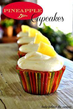 Pineapple Cupcakes by Lady Behind the Curtain.