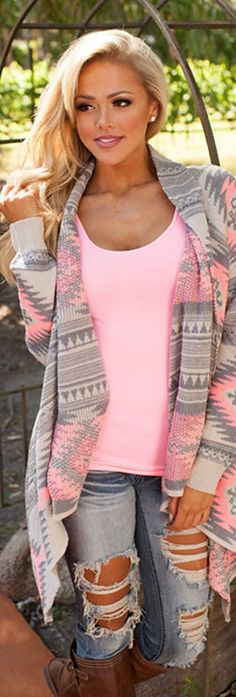 Pink Tribal Handkerchief Cardigan
