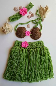 Hula Skirt - Girls Hula Skirt - Hula Girl - Baby Hula Skirt - Newborn Crochet Outfit - Baby's First Pictures - Hawaiian Hula Girl - Handmade by BellaFarfallaBoutiqu on Etsy
