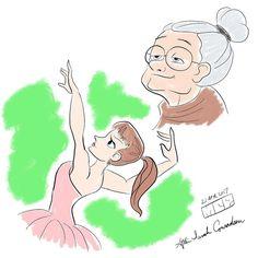 Ballerina and old lady after @sarahconradsen #ballerina #oldwoman #drawing #illustration #doodle #sketch #instaart #instagood #instagram #dancer