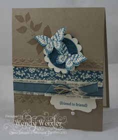 Wendy uses 2 of my favorite sets in this fabulous card - Papillon Potpourri & Summer Silhouettes! Love all the textures and the color combo.