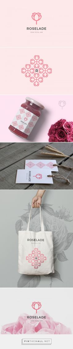 Roselade Branding on Behance | Fivestar Branding – Design and Branding Agency & Inspiration Gallery - Vraiment cool ce qu'il sont arrivé à faire avec le logo. Le pattern, le R, le nom, tout peut vivre par lui même et représenter la marque. Très réussi.