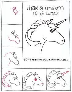 How to Draw a Unicorn in 6 Steps : Learn To Draw. How to draw a Unicorn . Have fun learning with drawing lessons for young and old. Drawing Lessons, Art Lessons, Kawaii Drawings, Cartoon Drawings, Cute Drawings, Pencil Drawings, Doodle Art, Doodle Drawings, Easy Drawing Steps