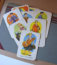 8 x Vintage Childrens Game Cards Cute Professions Jobs Themed