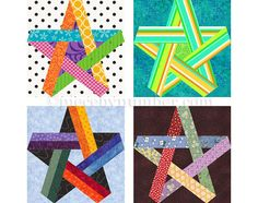 Pentagram Star quilt block pattern paper by PieceByNumberQuilts