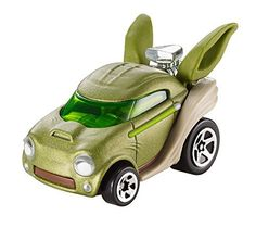 Hot Wheels Star Wars Character Car, Yoda Two of kids' favorite brands—Hot Wheels and Star Wars—have joined forces! Hot Wheels has reimagined some of the most iconic characters from Star Wars as 1:64-scale cars. The Hot Wheels Star Wars Yoda character car combines the essence of the wise Jedi master with the thrill and real racing excitement of Hot Wheels. Re-create your favorite storylines, send your Yoda car flying at lightspeed on a Hot Wheels track set (sold separat