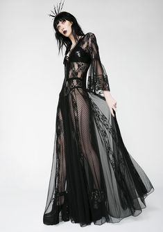 Free, fast shipping on Lace Long Sleeve Maxi Dress at Dolls Kill, an online boutique for punk and rock fashion. Long Sleeve Maxi, Maxi Dress With Sleeves, Sheer Dress, Boho Dress, Dark Fashion, Gothic Fashion, Steampunk Fashion, Emo Fashion, Gothic Mode