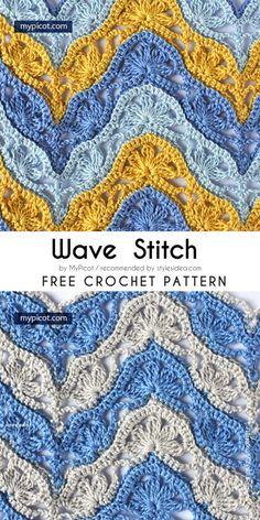 Wave Stitches Collection Free Crochet Patterns #crochetstitch