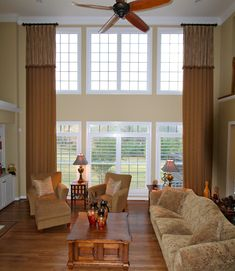 Two story draperies with French Flip attached Valance