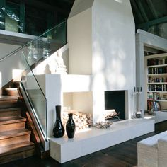 use of space for outdoor stairs and fireplace