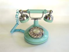 Vintage Blue Rotary Phone French Style by LoveButlerVintage