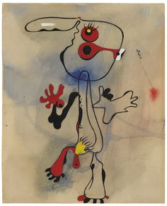 """Joan Miró 1893 - 1983 PERSONNAGE Signed Miró (upper right); signed Joan Miró, titled """"Personnage"""" and dated 10/8/35 (on the verso) Gouache, watercolor and brush and ink on paper 14 5/8 by 12 in. 37.1 by 30.5 cm Executed on August 10, 1935"""