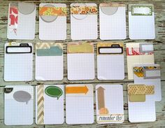 journal cards made with the graph cards!