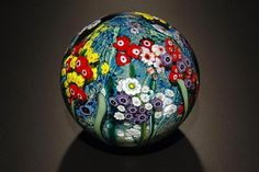 ... Landscape Series Gazing Ball with Poppies by Shawn Messenger: Art Glass Paperweight available at www.artfulhome.com