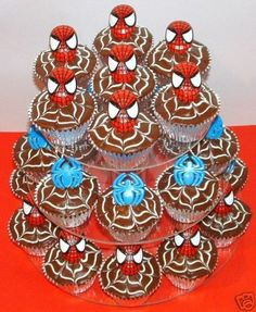 Spiderman Cupcake Decorations Rings Party Favors 15 | eBay