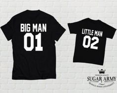 Father and Son Shirts Big Man Little Man Sets Dad di threadedtees