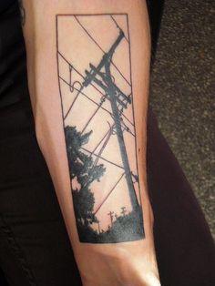 telephone pole and lineman tattoo | lines & telephone pole tattoo | Tattoo | Pinterest | Tattoos and body ...