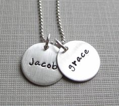 Hand Stamped Jewelry  Mommy Necklaces  TWO by jcjewelrydesign, $42.00