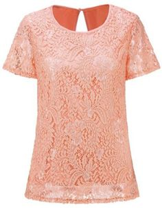 Red Short Sleeve Back Hollow Loose Lace T-Shirt
