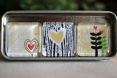 Glass Magnet Trio  Yellow Woodgrain by LivyLouDesigns on Etsy, $5.95