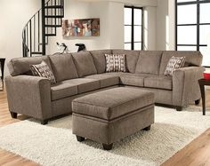 Light Gray Two Piece Couch | Mickey Pewter Two Piece Sectional Sofa | American  Freight. Living Room SectionalSectional SofasGreen ...