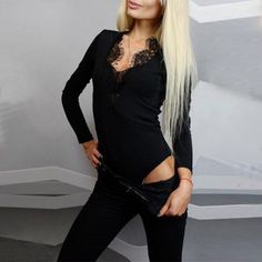 b3771a0f7d Lace Patchwork Jumpsuit Sexy Deep V Neck Fashion Slim Bodysuits 2017 Autumn Tops  Rompers Womens Casual