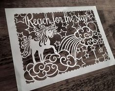 Unicorn Papercut Template Personal use Reach for the stars Beautiful Unicorn, Reaching For The Stars, Bee Design, Wishes For You, Say Hello, Christmas Presents, Cricut Design, Paper Cutting, Gifts For Friends