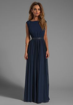 ALICE + OLIVIA Triss Sleeveless Maxi Dress with Leather Trim in Navy - Maxi
