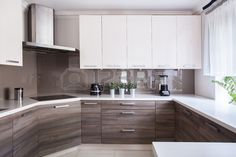Cozy beige kitchen inter with wooden cupboards