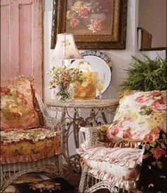 . Florals and a nice place to sit and have a cup of tea.
