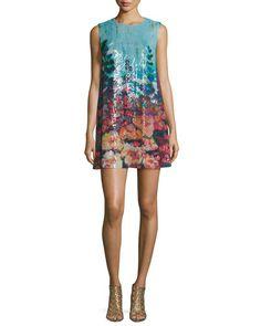 TB15D Clover Canyon Botanical Dreams Sleeveless Sequin Dress, Multicolor