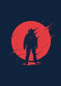 Displate Poster Red Sphere astronaut #sun #red #space #galaxy #helmet
