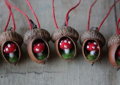 A whole lineup of tiny acorn ornaments I've made. I hollowed out acorn bodies and glued in tiny mushrooms I made out of wool. Crafts for squirrels.by Lisa Jordan Christmas Time, Christmas Crafts, Christmas Decorations, Christmas Ornaments, Acorn Decorations, Woodland Christmas, Felt Crafts, Diy Crafts, Felt Diy