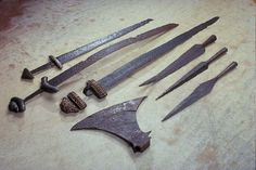 Viking age weapons, Sweden. According to custom, all free Viking men were required to own weapons, as well as permitted to carry them at all times.